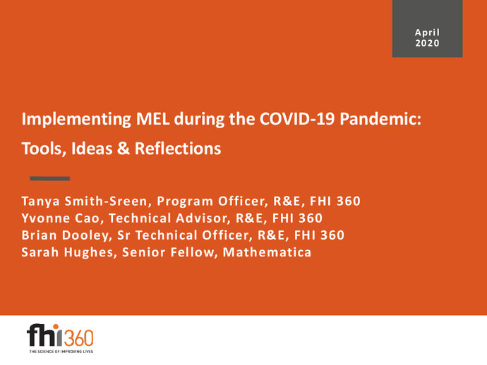 Implementing Mel During The Covid 19 Pandemic Covid 19 Response Portal